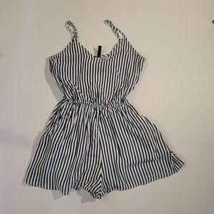 H&M white and blue strip romper  Size 0